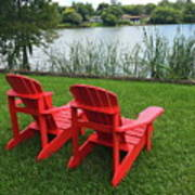 Two Red Chairs Overlooking Lake Formosa Art Print