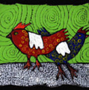 Two Roosters Art Print