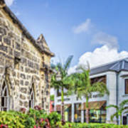 Two Solitudes, Holetown Church And Limegrove Mall, Barbados Art Print