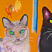 Two Superior Cats With Wild Wallpaper Art Print