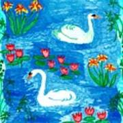 Two Swans Art Print by Sushila Burgess