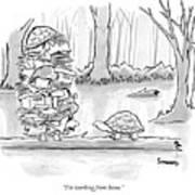Two Tortoises Speak. One Has A Large Number Art Print