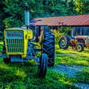 Two Tractors And A Barn 2697t Art Print