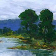 Two Trees In The Bay Land Art Print