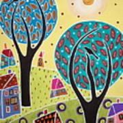 Two Trees Two Birds Landscape Art Print