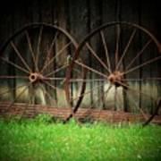 Two Wagon Wheels Art Print by Michael L Kimble