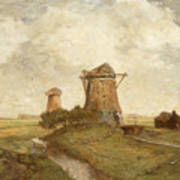 Two Windmills Between Abcoude And Ouderkerk On The Amstel Art Print
