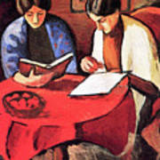 Two Women At The Table By August Macke Art Print