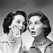 Two Women Gossiping, C.1950-60s Art Print