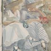 Two Women Sitting In The Front Row Of An Audience Art Print