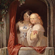 Two Young Ladies At The Window Art Print