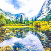 Typical View Of The Yosemite National Park Art Print