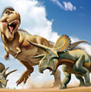 Tyrannosaurus Rex Fighting With Two Art Print by Mohamad Haghani