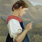 Tyrolean Girl Contemplating A Crucifix Art Print