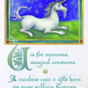 U Is For Unicorn Art Print