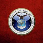 U. S.  Air Force  -  U S A F Emblem Over Red Velvet Art Print