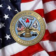 U. S. Army Seal Over American Flag. Art Print