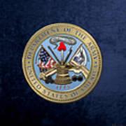 U. S. Army Seal Over Blue Velvet Art Print