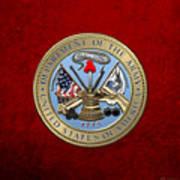 U. S. Army Seal Over Red Velvet Art Print