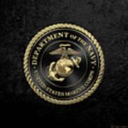 U S M C Emblem Black Edition Over Black Velvet Art Print