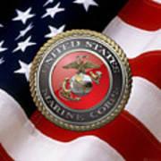 U S M C Emblem Over American Flag Art Print