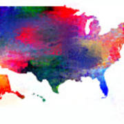 U S Map Color  Art Print