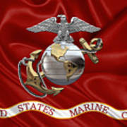 U. S.  Marine Corps - C O And Warrant Officer Eagle Globe And Anchor Over Corps Flag Art Print