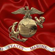 U. S.  Marine Corps - N C O Eagle Globe And Anchor Over Corps Flag Art Print