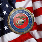 U. S. Marine Corps - U S M C Seal Over American Flag. Art Print