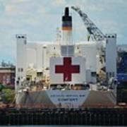 U S N Hospital Ship, Comfort In Boston's Dry Dock Art Print