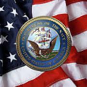 U. S.  Navy  -  U S N Emblem Over American Flag Art Print