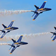 U S Navy Blue Angeles, Formation Flying, Smoke On Art Print