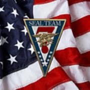 U. S. Navy S E A Ls - S E A L Team Seven  -  S T 7  Patch Over U. S. Flag Art Print