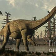 Uberabatitan Dinosaur Walking Art Print