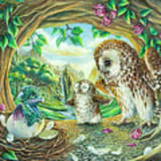 Ugly Duckling - Dragon Baby And Owls Art Print