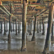 Under The Boardwalk Pier Sunbeams  Art Print