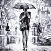 Under The Umbrella - Ballpoint Pen Art Art Print