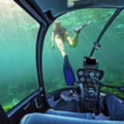 Underwater Ship In Coral Reef Art Print