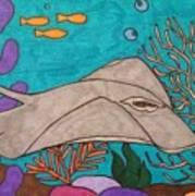 Underwater Stingray Art Print