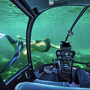 Underwater Submarine Woman Art Print