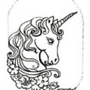 Unicorn Cameo Art Print