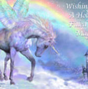 Unicorn Of The Rainbow Card Art Print