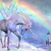 Unicorn Of The Rainbow Art Print by Carol Cavalaris