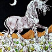 Unicorn Over Flower Field Art Print