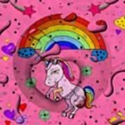 Unicorn Popart By Nico Bielow Art Print