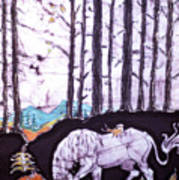 Unicorn Rests In The Forest With Fox And Bird Art Print