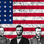 Union Heroes And The American Flag Art Print