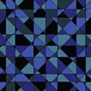 Unique Bold Hip Blue Cyan Grey Black Geometric Pattern Art Print