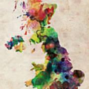 United Kingdom Watercolor Map Art Print by Michael Tompsett