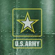 United States Army Logo On Green Steel Tank Art Print